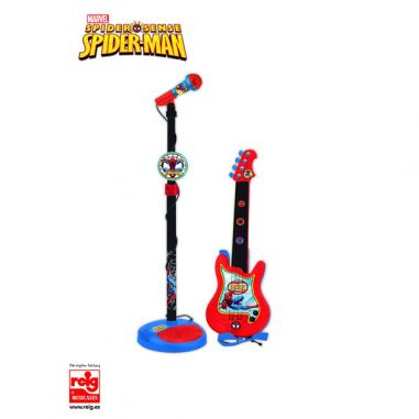 Guitarra y microfono Spiderman