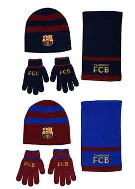 Gorro, guantes y bufanda FCB